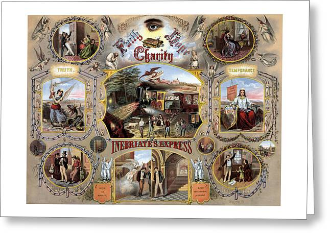 Saloons Mixed Media Greeting Cards - Inebriate Express Vintage Temperance Poster Greeting Card by War Is Hell Store