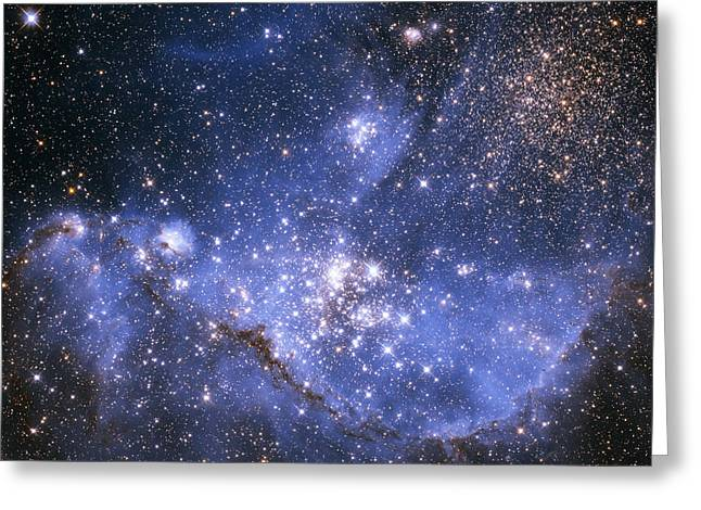 Small Magellanic Cloud Greeting Cards - Infant Stars in the Small Magellanic Cloud Greeting Card by Nasa