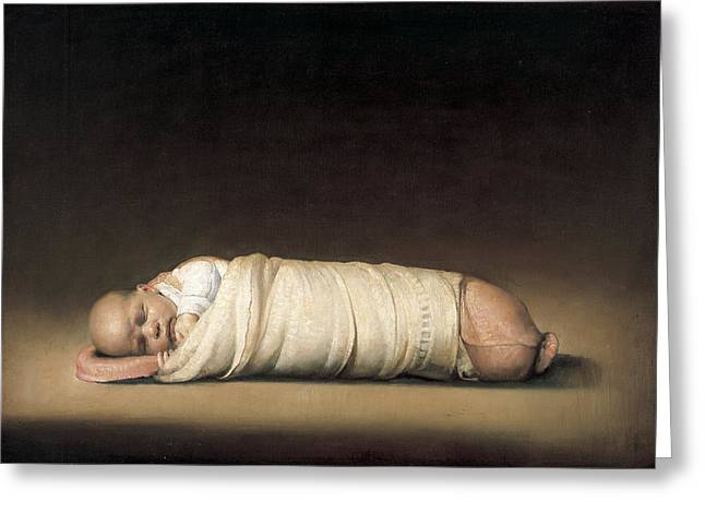 Family Love Greeting Cards - Infant Greeting Card by Odd Nerdrum