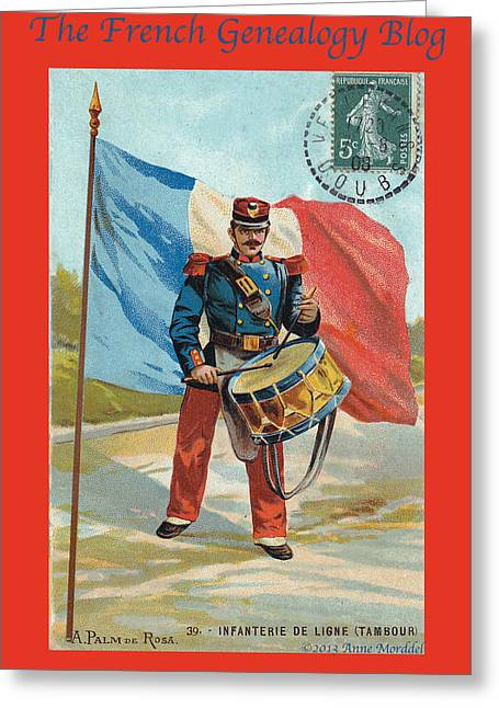 A Morddel Photographs Greeting Cards - Infantry of the Line Drummer with FGB border Greeting Card by A Morddel