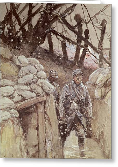 Harsh Conditions Greeting Cards - Infantrymen In A Trench, Notre-dame De Lorette, 1915 Wc On Paper Greeting Card by Francois Flameng