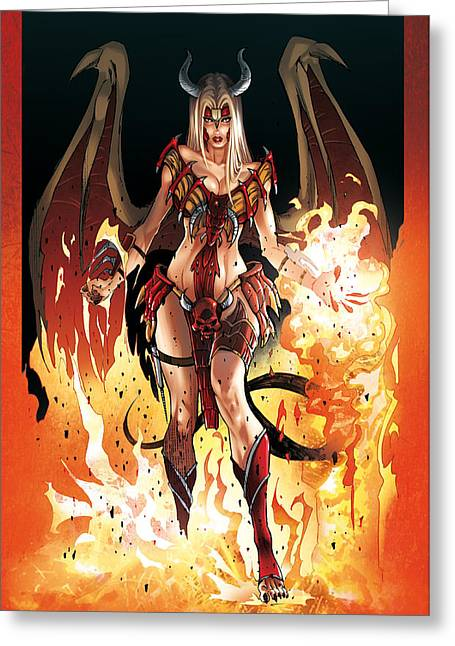 Devilish Greeting Cards - Inferna Greeting Card by Ylenia Art