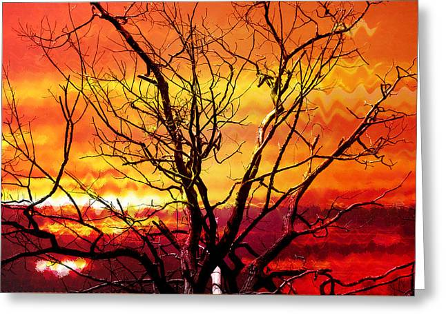 Colourful Surrealist Greeting Cards - Inferno in the Sky Greeting Card by Shawna  Rowe