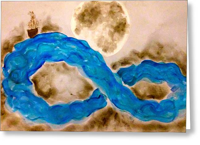 Pirate Ships Pastels Greeting Cards - Infinite Voyage Greeting Card by Jennie Hallbrown