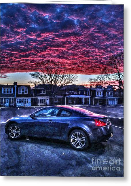 Williams Dam Greeting Cards - Infiniti G37 in the Clouds Greeting Card by Mark Ayzenberg