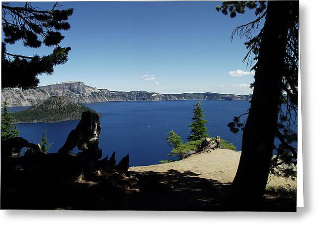 Craters Pyrography Greeting Cards - Infinity at Crater Lake Greeting Card by Carrie Hise
