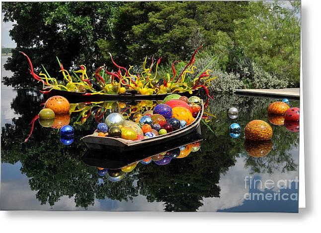 Reflection Glass Greeting Cards - Infinity Boats Greeting Card by Cheryl McClure