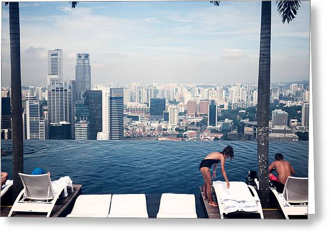 Standalone Greeting Cards - Infinity Pool at Marina Bay Sands Greeting Card by Chris Quek