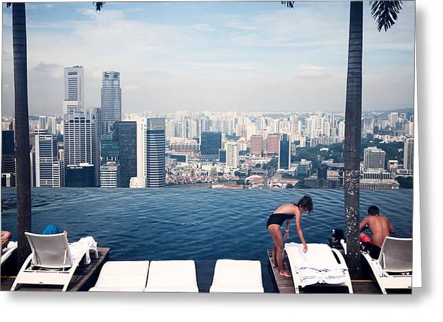 Infinity Pool At Marina Bay Sands Greeting Card by Chris Quek