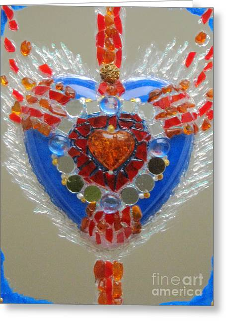 Souls Glass Greeting Cards - Inflamed heart gets wings Greeting Card by Heidi Sieber