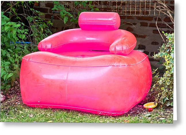 Inflatable Greeting Cards - Inflatable chair Greeting Card by Tom Gowanlock