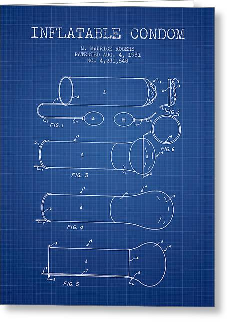 Intercourse Greeting Cards - Inflatable Condom Patent from 1981 - Blueprint Greeting Card by Aged Pixel