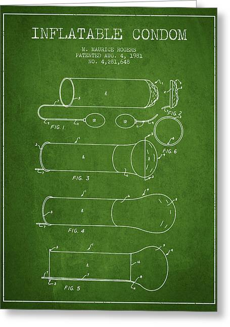Pregnancy Greeting Cards - Inflatable Condom Patent from 1981 - Green Greeting Card by Aged Pixel
