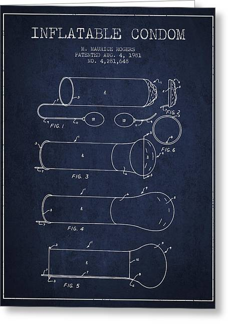 Intercourse Greeting Cards - Inflatable Condom Patent from 1981 - Navy Blue Greeting Card by Aged Pixel