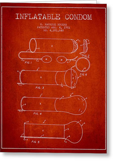 Pregnancy Greeting Cards - Inflatable Condom Patent from 1981 - Red Greeting Card by Aged Pixel