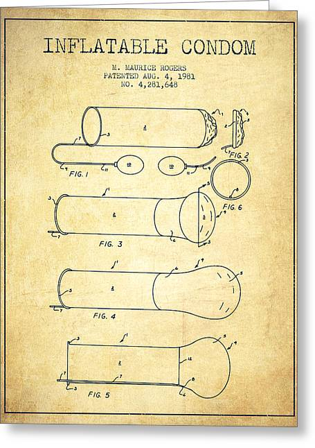 Inflatable Condom Patent From 1981 - Vintage Greeting Card by Aged Pixel
