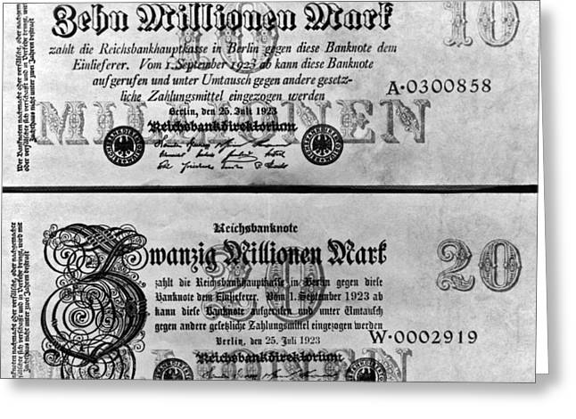 Inflated German Mark Bills Greeting Card by Underwood Archives