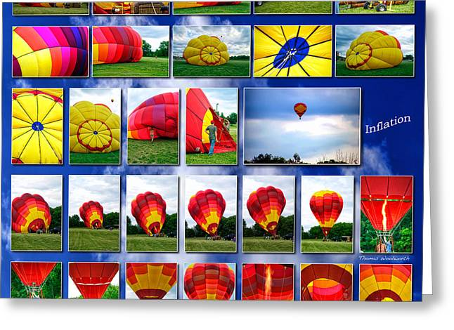 Coller Greeting Cards - Inflation Hot Air Balloon Greeting Card by Thomas Woolworth