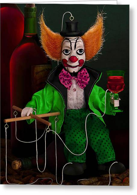 Jesters Puppet Greeting Cards - Influence Of Red Wine On Nose Color Of The Ugly Puppet Clown Who Seized The Control Bar And Reposed Greeting Card by Vo Van Glik Man