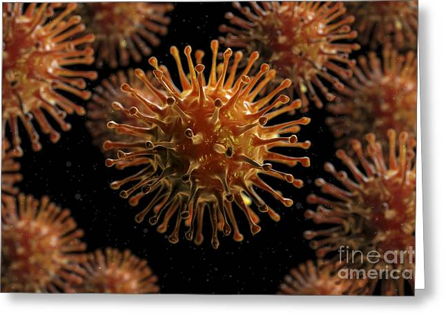 Disease-causing Greeting Cards - Influenza A Virus Particles Greeting Card by Science Picture Co
