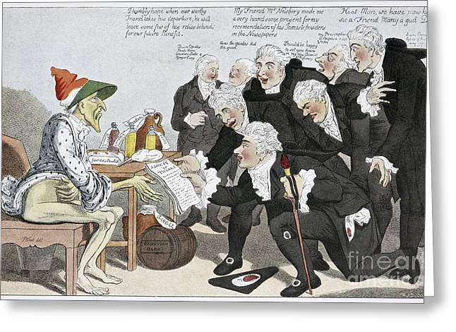 Peruvian Bark Greeting Cards - Influenza Epidemic, Satirical Artwork Greeting Card by Spl