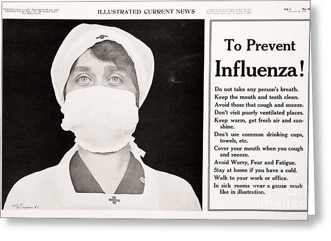 Woman Head Prints Greeting Cards - Influenza Prevention, 1918 Pandemic Greeting Card by National Library Of Medicine
