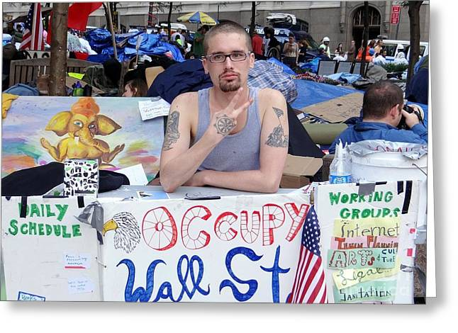 Occupy Greeting Cards - Info Booth-occupy Wall Street Greeting Card by Ed Weidman
