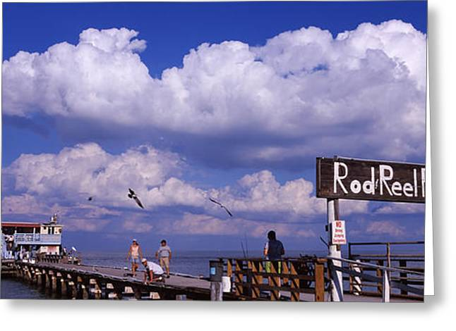 Four People Greeting Cards - Information Board Of A Pier, Rod Greeting Card by Panoramic Images