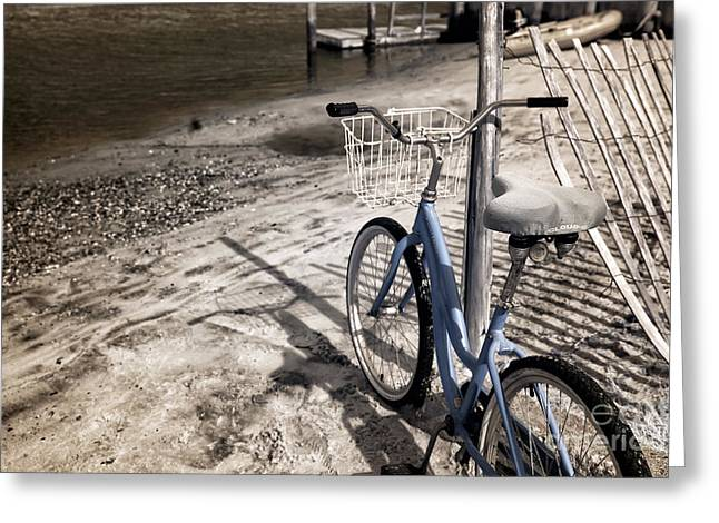 Brown Tones Greeting Cards - Infrared Bike on the Beach Greeting Card by John Rizzuto