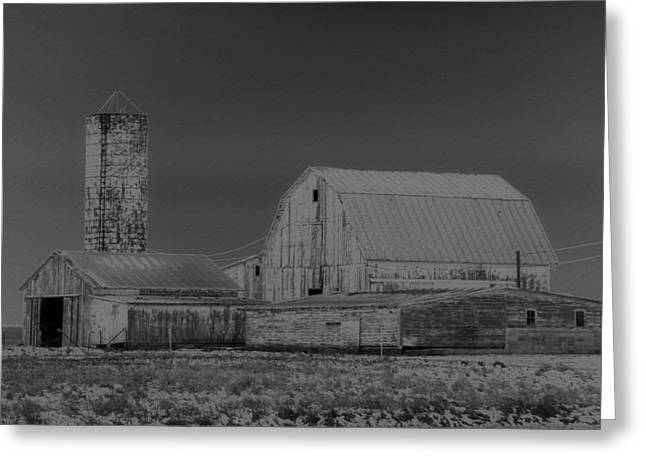 Barn And Silo Greeting Cards - Infrared Black And White Barn Greeting Card by Dan Sproul