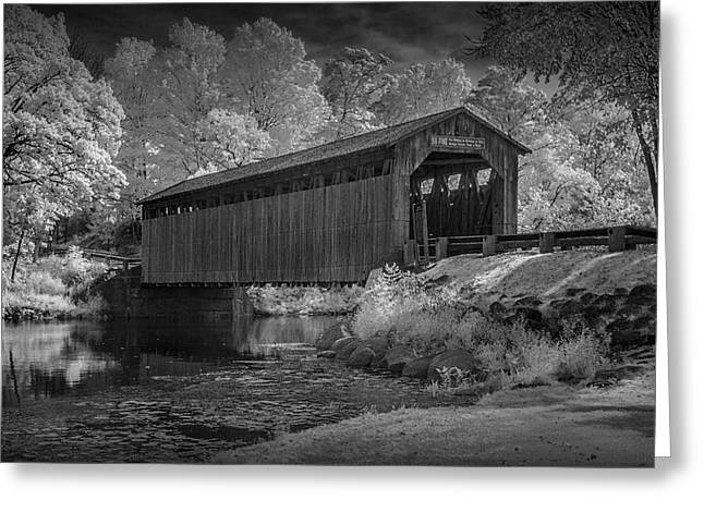 Old Roadway Greeting Cards - Infrared Black and White Photograph of the Fallasburg Covered Bridge Greeting Card by Randall Nyhof