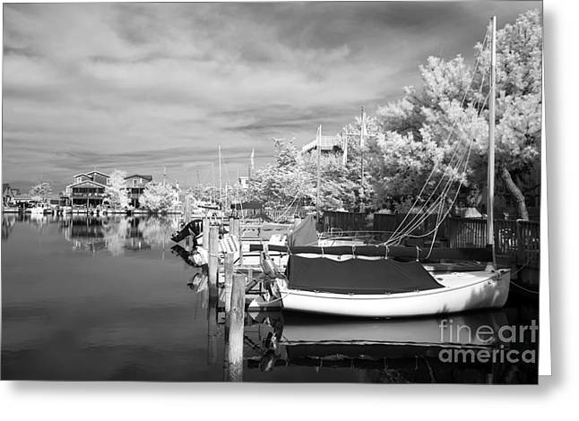 Boats At The Dock Greeting Cards - Infrared Boats at LBI bw Greeting Card by John Rizzuto