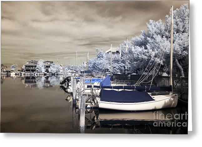 Boats At The Dock Photographs Greeting Cards - Infrared Boats at LBI Greeting Card by John Rizzuto
