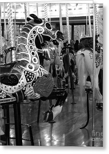 Black Greeting Cards - Black and White Carousel Horses Greeting Card by Jani Freimann