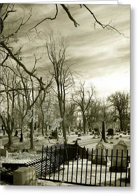 Creepy Digital Art Greeting Cards - Infrared Cemetery Greeting Card by Gothicolors Donna Snyder