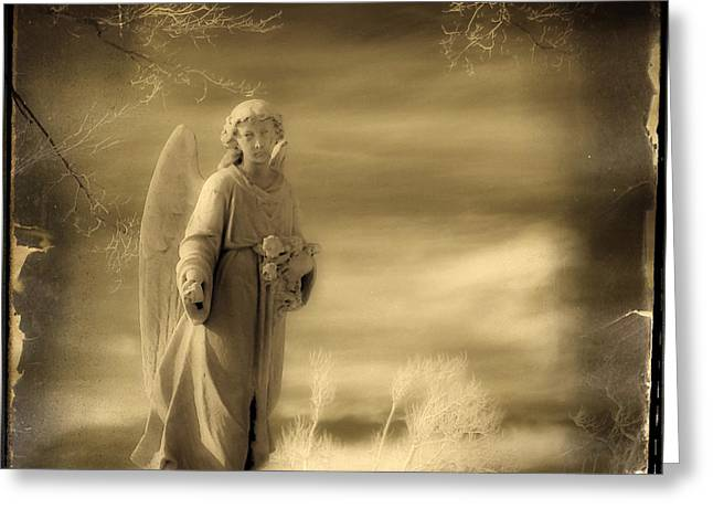 Angel Digital Greeting Cards - Infrared Dream Angel Greeting Card by Gothicolors Donna Snyder