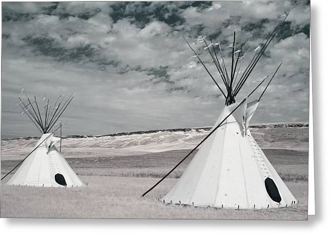 Ulm Greeting Cards - Infrared Image Of Native American Tipis Greeting Card by Roberta Murray