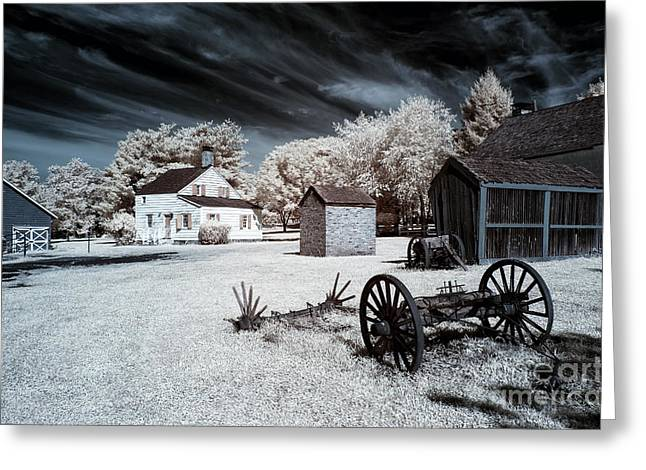 East Jersey Olde Towne Village Greeting Cards - Infrared Olde Towne Greeting Card by John Rizzuto
