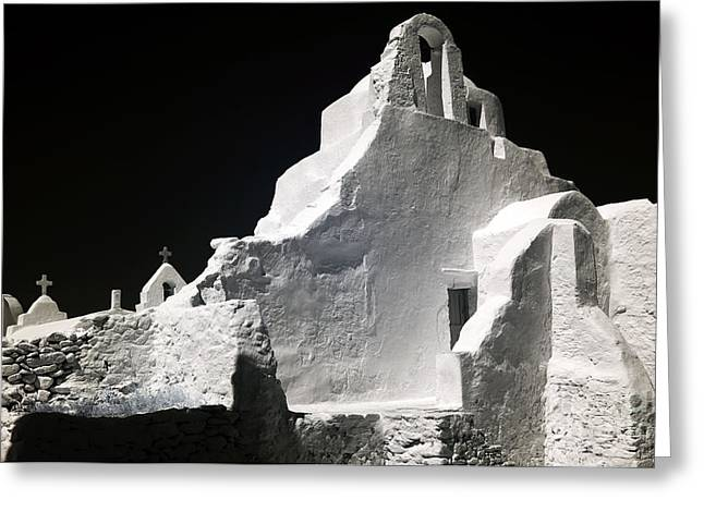 Panagia Greeting Cards - Infrared Paraportiani Greeting Card by John Rizzuto