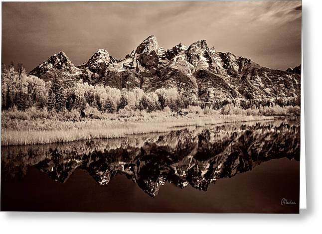 Pond Grand Tetons Greeting Cards - Infrared Sepia Grand Teton National Park Greeting Card by Christine Hauber