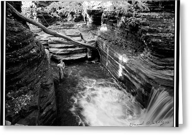 Buttermilk Falls Greeting Cards - Infrared Upper Buttermilk Falls 8 Greeting Card by David Blatchley