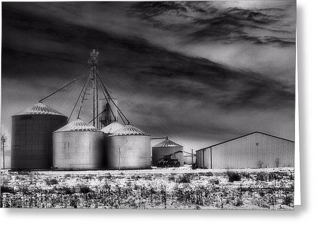 The Cornfield Greeting Cards - Infrared Winter Farm Greeting Card by Dan Sproul