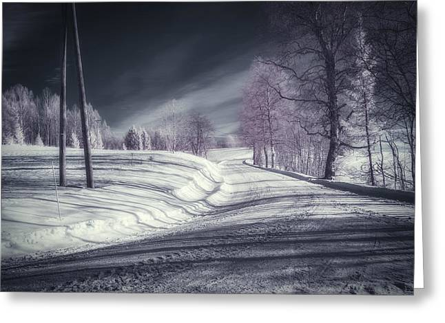 Ir Greeting Cards - Infrared Winter Road Greeting Card by Erik Brede