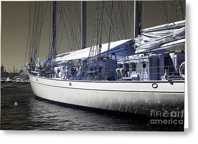 Azur Greeting Cards - Infrared Yacht Greeting Card by John Rizzuto