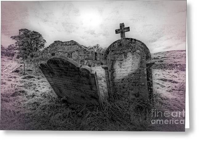 Abandond Greeting Cards - Ingleborough Abandond Church Greeting Card by David Ireland LRPS