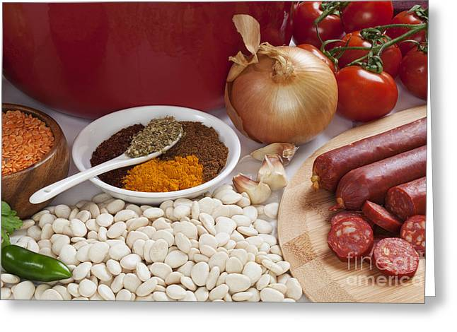 Chilli Greeting Cards - Ingredients for Spanish Chorizo Soup Greeting Card by Colin and Linda McKie
