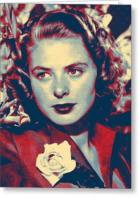 First Plane Greeting Cards - Ingrid Bergman Greeting Card by Art Cinema Gallery