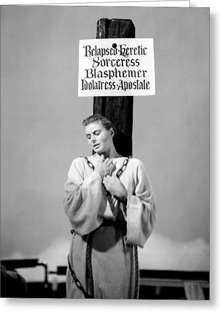 1940 Movies Greeting Cards - Ingrid Bergman in Joan of Arc  Greeting Card by Silver Screen