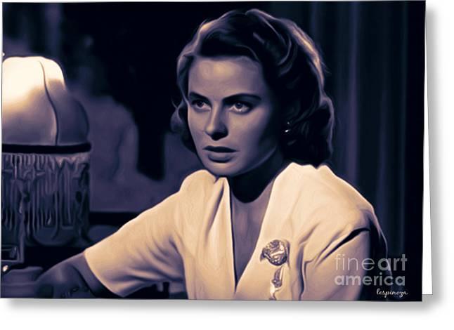 Award Digital Art Greeting Cards - Ingrid Bergman Greeting Card by Larry Espinoza