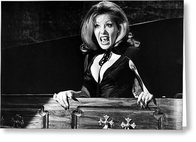 The Houses Greeting Cards - Ingrid Pitt in The House That Dripped Blood  Greeting Card by Silver Screen